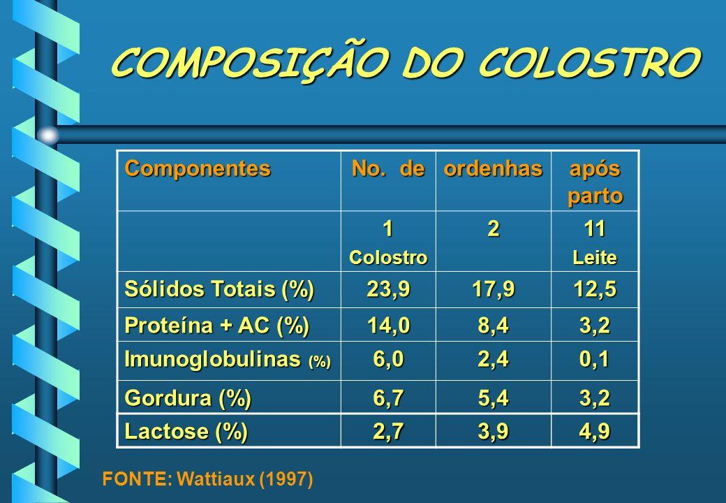 COMPOSIÇÃO DO COLOSTRO Componentes No. de ordenhas após parto 1Colostro211Leite Sólidos Totais (%) 23,917,912,5 Proteína + AC (%) 14,08,43,2 Imunoglob