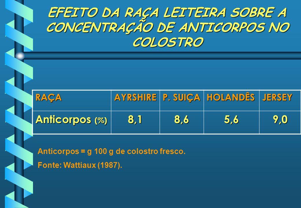 EFEITO DA RAÇA LEITEIRA SOBRE A CONCENTRAÇÃO DE ANTICORPOS NO COLOSTRO RAÇAAYRSHIRE P. SUIÇA HOLANDÊSJERSEY Anticorpos (%) 8,18,65,69,0 Anticorpos = g