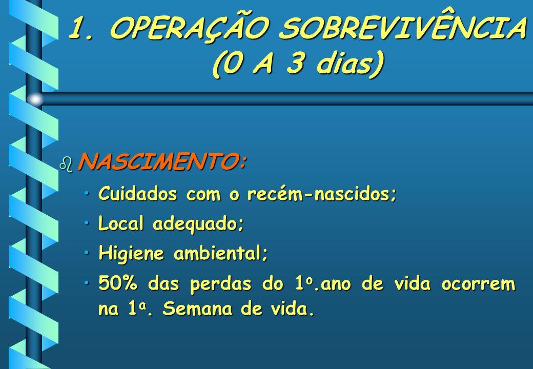 1. OPERAÇÃO SOBREVIVÊNCIA (0 A 3 dias) b NASCIMENTO: Cuidados com o recém-nascidos;Cuidados com o recém-nascidos; Local adequado;Local adequado; Higie