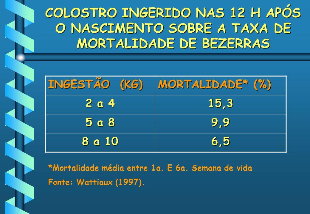 COLOSTRO INGERIDO NAS 12 H APÓS O NASCIMENTO SOBRE A TAXA DE MORTALIDADE DE BEZERRAS INGESTÃO (KG) MORTALIDADE* (%) 2 a 4 15,3 5 a 8 9,9 8 a 10 6,5 *M