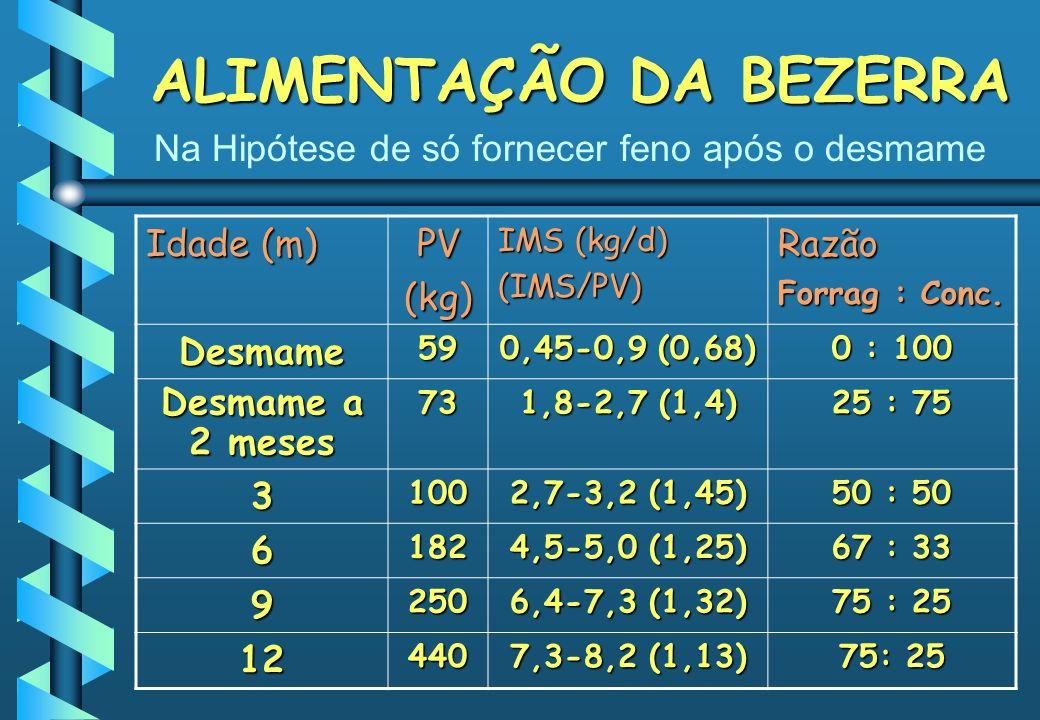 ALIMENTAÇÃO DA BEZERRA Idade (m) PV(kg) IMS (kg/d) (IMS/PV)Razão Forrag : Conc. Desmame59 0,45-0,9 (0,68) 0 : 100 Desmame a 2 meses 73 1,8-2,7 (1,4) 2