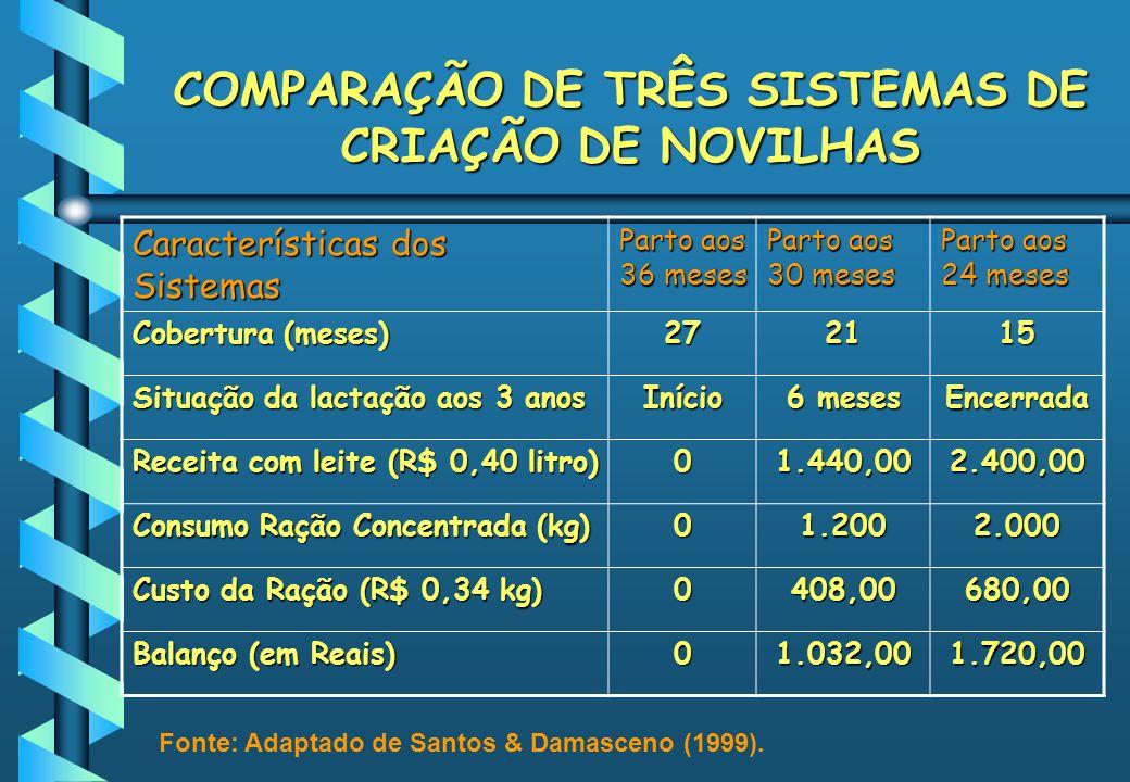 COMPARAÇÃO DE TRÊS SISTEMAS DE CRIAÇÃO DE NOVILHAS Características dos Sistemas Parto aos 36 meses Parto aos 30 meses Parto aos 24 meses Cobertura (me