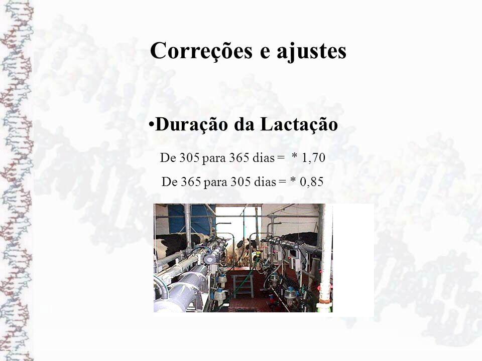 Duração da Lactação Correções e ajustes De 305 para 365 dias = * 1,70 De 365 para 305 dias = * 0,85