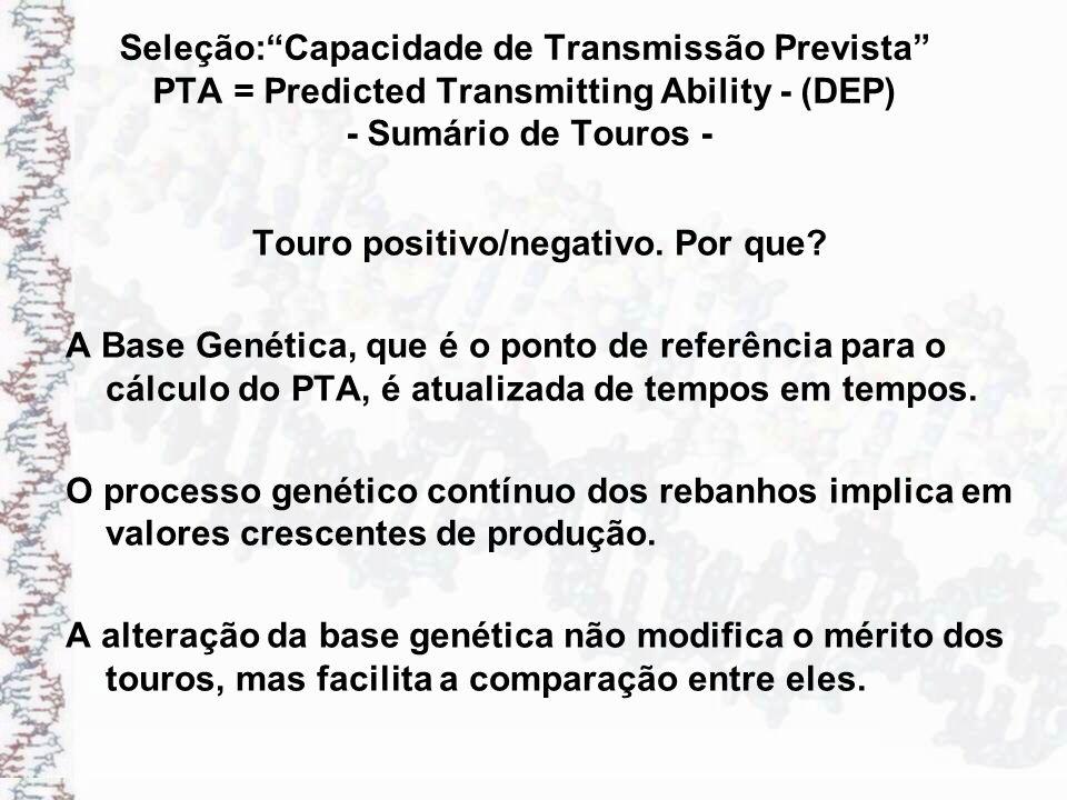 Seleção:Capacidade de Transmissão Prevista PTA = Predicted Transmitting Ability - (DEP) - Sumário de Touros - Touro positivo/negativo. Por que? A Base