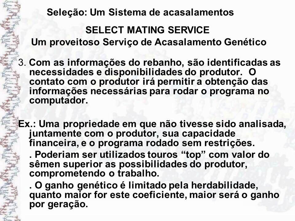 Seleção: Um Sistema de acasalamentos 3. Com as informações do rebanho, são identificadas as necessidades e disponibilidades do produtor. O contato com