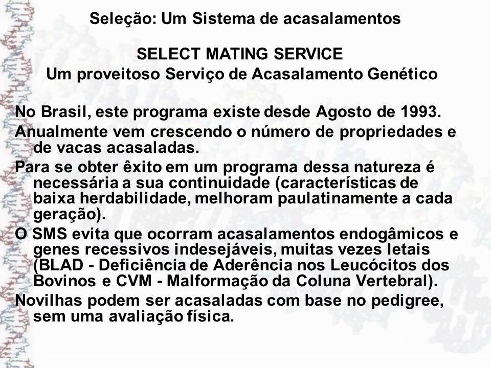 Seleção: Um Sistema de acasalamentos No Brasil, este programa existe desde Agosto de 1993. Anualmente vem crescendo o número de propriedades e de vaca