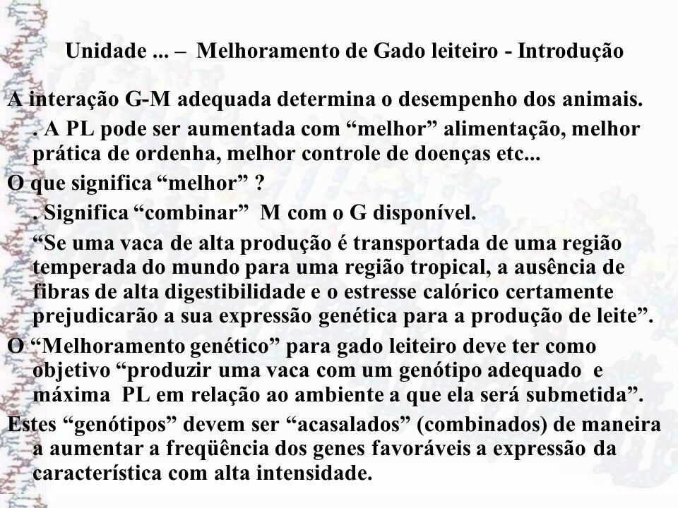 A interação G-M adequada determina o desempenho dos animais.. A PL pode ser aumentada com melhor alimentação, melhor prática de ordenha, melhor contro