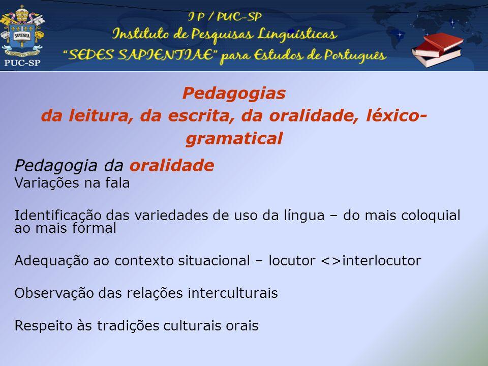 Pedagogias da leitura, da escrita, da oralidade, léxico- gramatical Pedagogia da oralidade Variações na fala Identificação das variedades de uso da lí