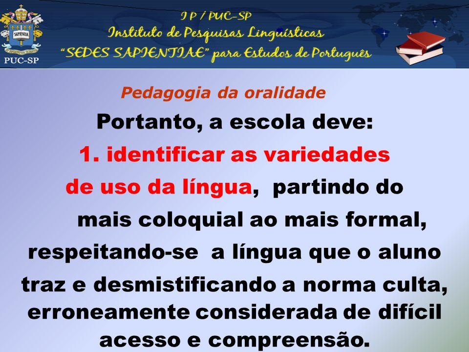 Pedagogia da oralidade Portanto, a escola deve: 1. identificar as variedades de uso da língua, partindo do mais coloquial ao mais formal, respeitando-