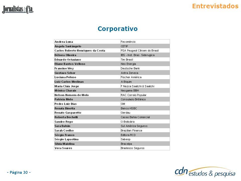 - Página 30 - Entrevistados Corporativo