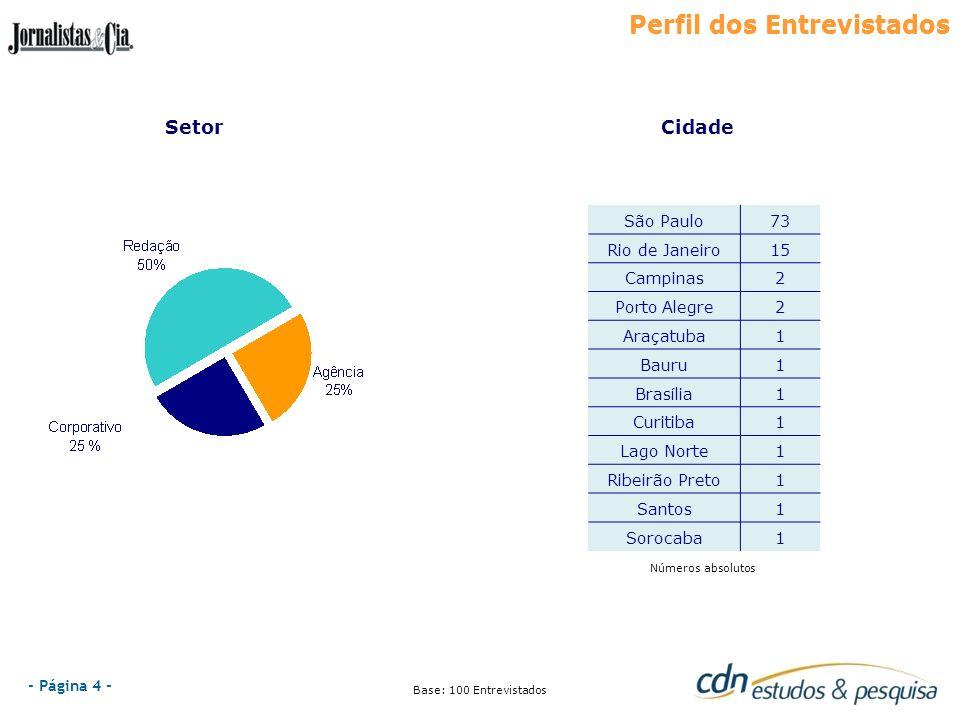 - Página 4 - Perfil dos Entrevistados Números absolutos Base: 100 Entrevistados SetorCidade Perfil dos Entrevistados São Paulo73 Rio de Janeiro15 Camp