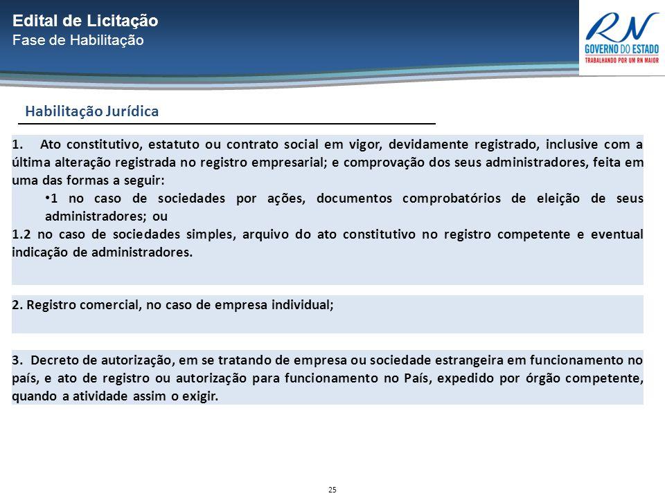 25 Habilitação Jurídica Edital de Licitação Fase de Habilitação 1.