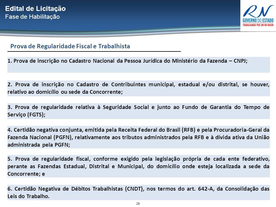 26 Prova de Regularidade Fiscal e Trabalhista Edital de Licitação Fase de Habilitação 1.