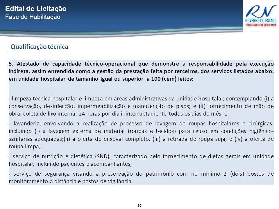 30 Qualificação técnica Edital de Licitação Fase de Habilitação 5.