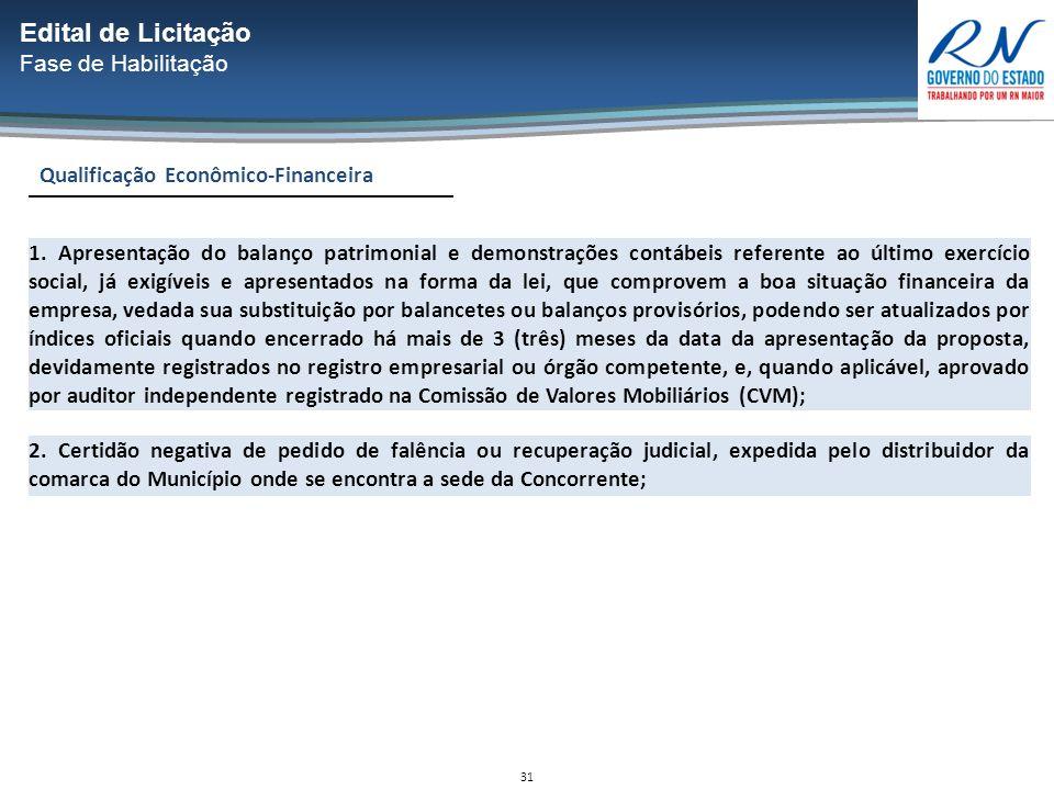 31 Qualificação Econômico-Financeira Edital de Licitação Fase de Habilitação 1.