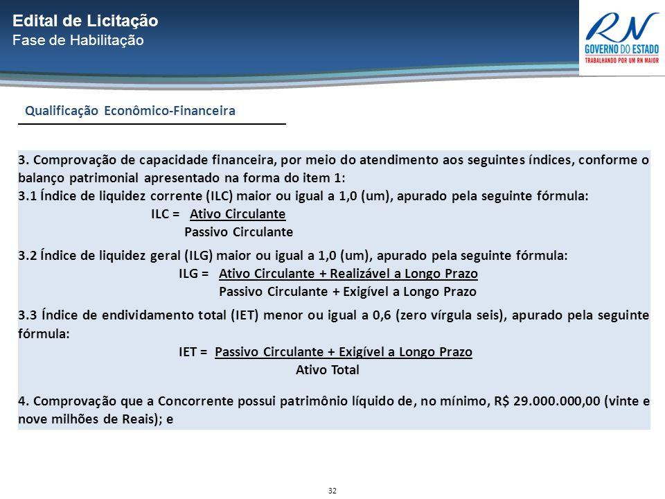 32 Qualificação Econômico-Financeira Edital de Licitação Fase de Habilitação 3.