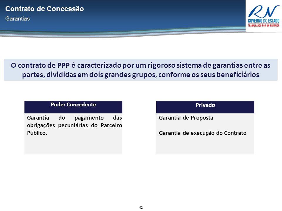 42 O contrato de PPP é caracterizado por um rigoroso sistema de garantias entre as partes, divididas em dois grandes grupos, conforme os seus beneficiários Poder Concedente Garantia do pagamento das obrigações pecuniárias do Parceiro Público.