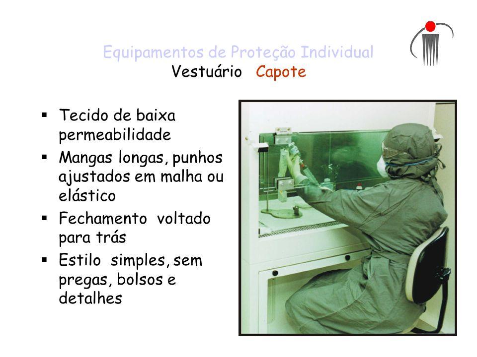 Equipamentos de Proteção Individual Vestuário Capote Tecido de baixa permeabilidade Mangas longas, punhos ajustados em malha ou elástico Fechamento vo