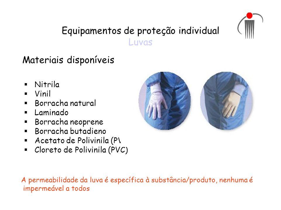 Equipamentos de proteção individual Luvas Nitrila Vinil Borracha natural Laminado Borracha neoprene Borracha butadieno Acetato de Polivinila (PVA) Clo