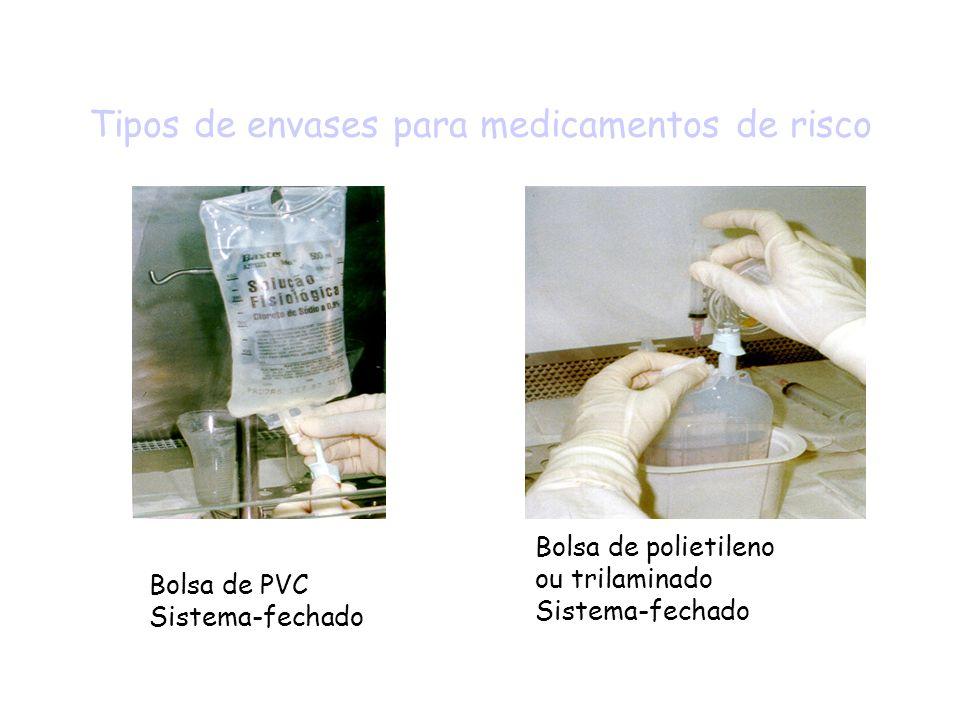 Tipos de envases para medicamentos de risco Bolsa de PVC Sistema-fechado Bolsa de polietileno ou trilaminado Sistema-fechado