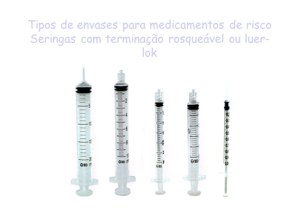 Tipos de envases para medicamentos de risco Seringas com terminação rosqueável ou luer- lok
