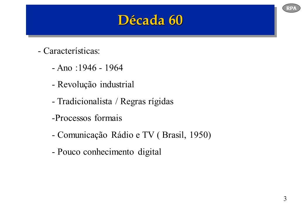 4 Década 70 - Características - Ano : 1965 - 1977 - Força de trabalho atual - Geração rebelde, indignada, realista - Tomada de decisões objetivas - Reestruturações anos 90 - Individualista - TV á cores -1972 - ( Geração X ) Prefere comunicação pessoal RPA