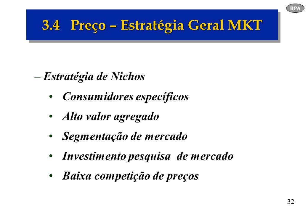 32 3.4 Preço – Estratégia Geral MKT –Estratégia de Nichos Consumidores específicos Alto valor agregado Segmentação de mercado Investimento pesquisa de
