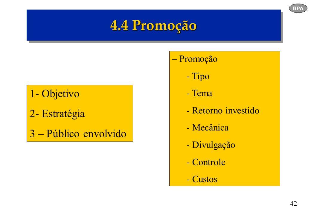42 4.4 Promoção RPA 1- Objetivo 2- Estratégia 3 – Público envolvido – Promoção - Tipo - Tema - Retorno investido - Mecânica - Divulgação - Controle -