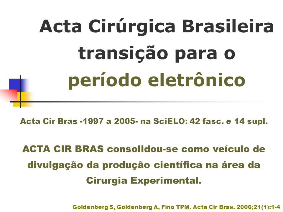 Acta Cirúrgica Brasileira transição para o período eletrônico Goldenberg S, Goldenberg A, Fino TPM. Acta Cir Bras. 2006;21(1):1-4 Acta Cir Bras -1997