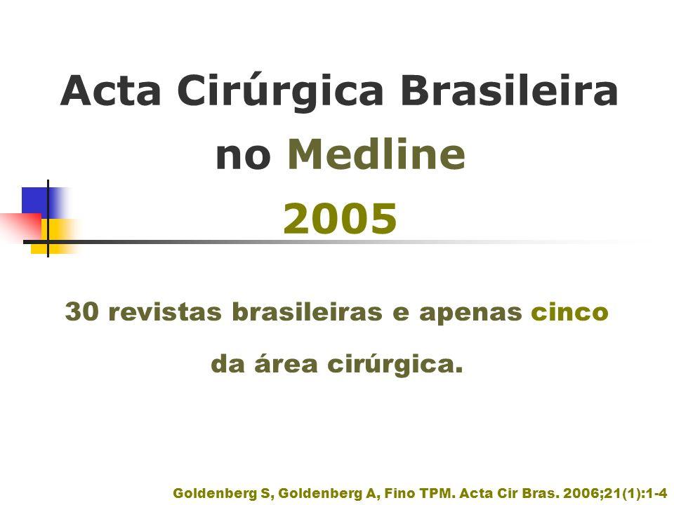 Acta Cirúrgica Brasileira no Medline 2005 Goldenberg S, Goldenberg A, Fino TPM. Acta Cir Bras. 2006;21(1):1-4 30 revistas brasileiras e apenas cinco d