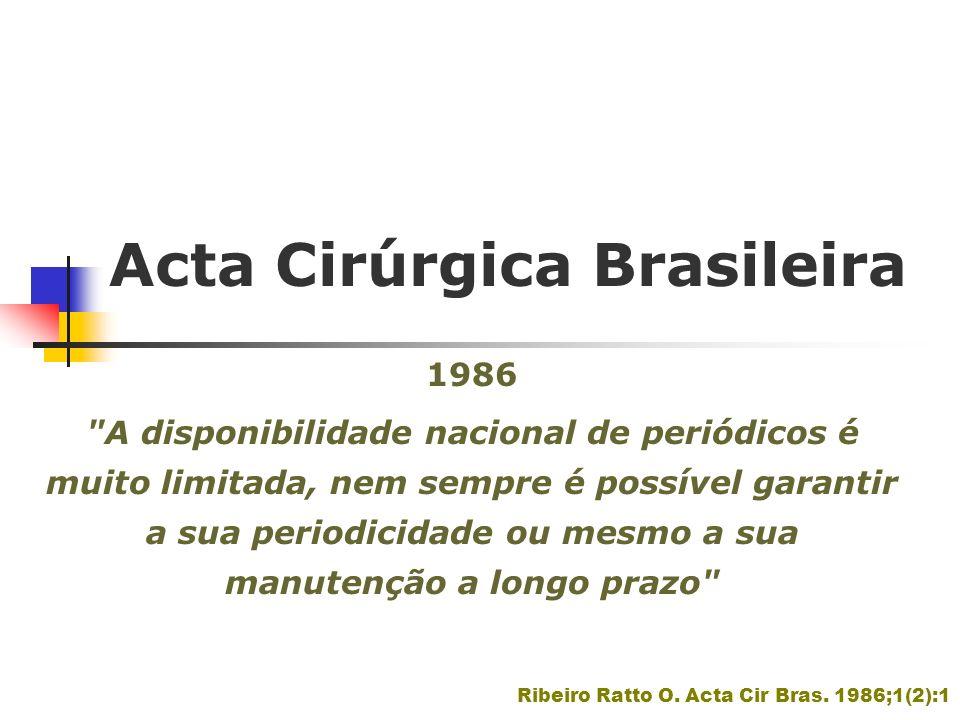 Acta Cirúrgica Brasileira 1991-1995 170 artigos - 71% originais 50 (29% - Revisão e Atualização-20; Ponto de Vista-15; Casuística-4;Comunicação-4; Relato de caso-4; Ensino Médico- 2 e Nota Prévia-1 Intercâmbio com instituições estrangeiras - 14 artigos provenientes de autores de universidades da Austrália (1), Portugal (7), Estados Unidos (2), Alemanha (1), Canadá (1), Israel (1), Japão (1) Población DA, Goldenberg S.