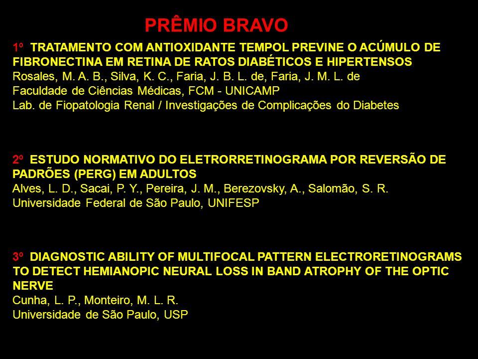 PRÊMIO BRAVO 1º TRATAMENTO COM ANTIOXIDANTE TEMPOL PREVINE O ACÚMULO DE FIBRONECTINA EM RETINA DE RATOS DIABÉTICOS E HIPERTENSOS Rosales, M. A. B., Si