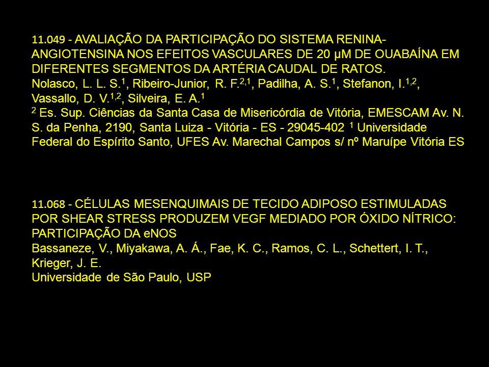 11.049 - AVALIAÇÃO DA PARTICIPAÇÃO DO SISTEMA RENINA- ANGIOTENSINA NOS EFEITOS VASCULARES DE 20 µΜ DE OUABAÍNA EM DIFERENTES SEGMENTOS DA ARTÉRIA CAUD
