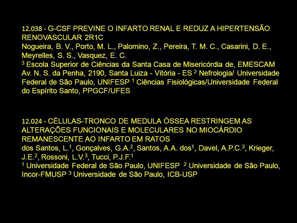 12.024 - CÉLULAS-TRONCO DE MEDULA ÓSSEA RESTRINGEM AS ALTERAÇÕES FUNCIONAIS E MOLECULARES NO MIOCÁRDIO REMANESCENTE AO INFARTO EM RATOS dos Santos, L.