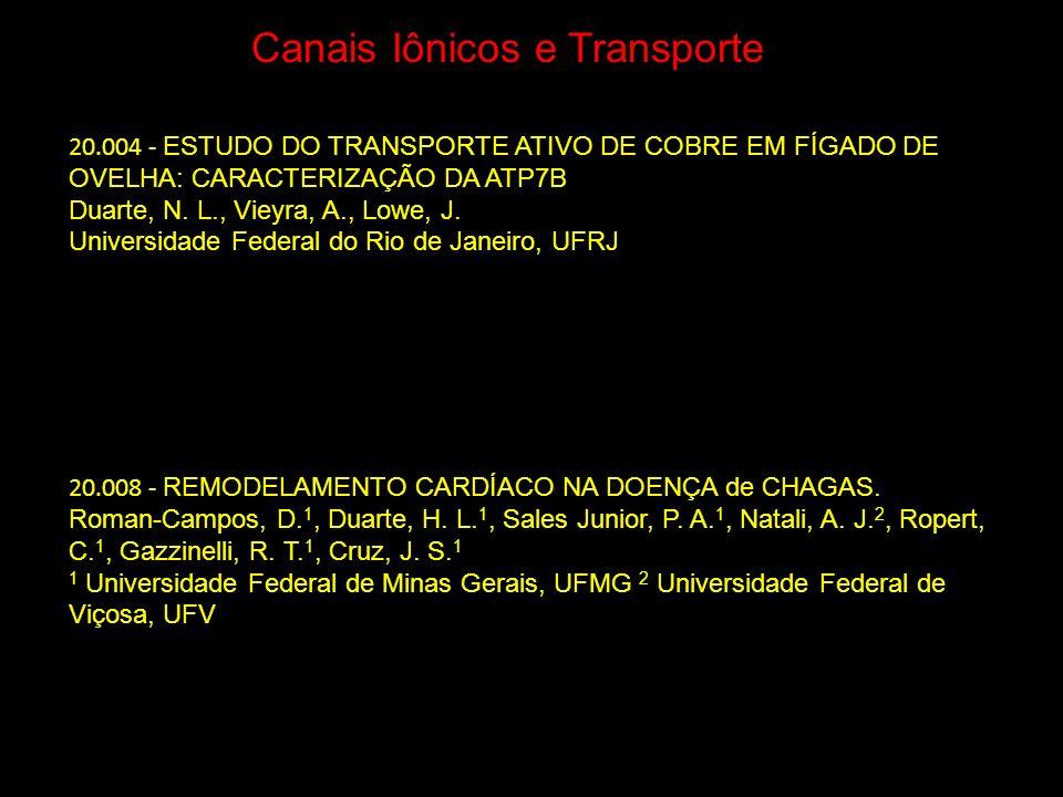 Canais Iônicos e Transporte 20.008 - REMODELAMENTO CARDÍACO NA DOENÇA de CHAGAS. Roman-Campos, D. 1, Duarte, H. L. 1, Sales Junior, P. A. 1, Natali, A