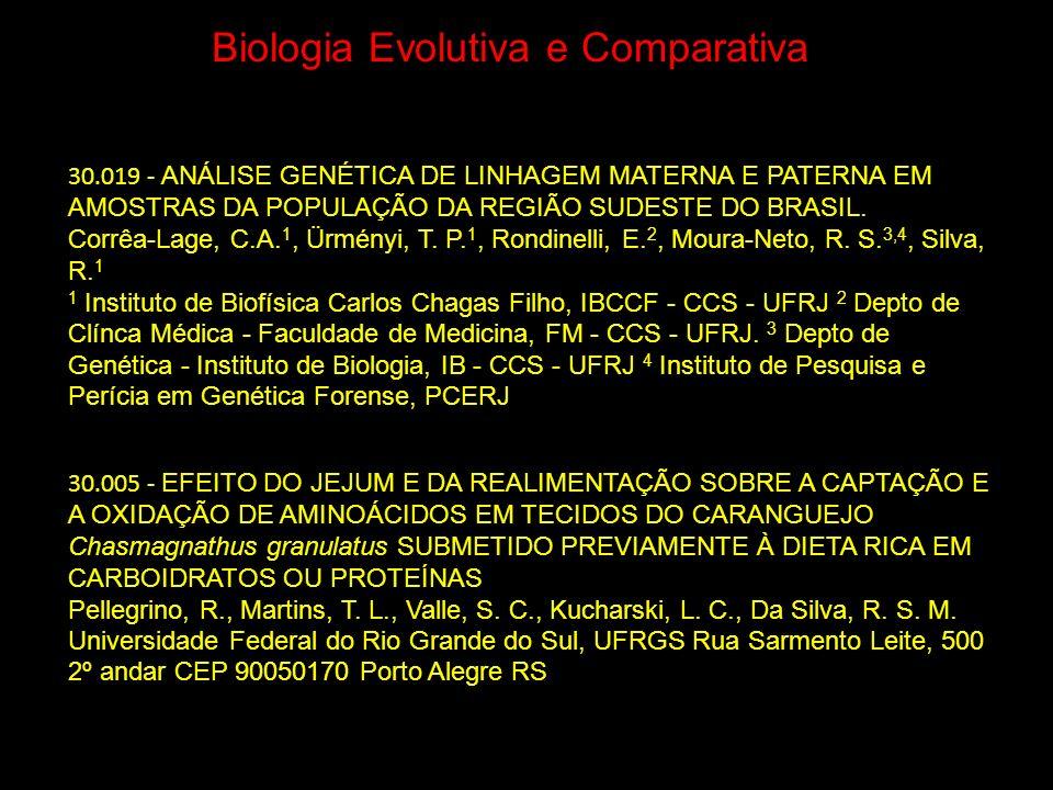Biologia Evolutiva e Comparativa 30.005 - EFEITO DO JEJUM E DA REALIMENTAÇÃO SOBRE A CAPTAÇÃO E A OXIDAÇÃO DE AMINOÁCIDOS EM TECIDOS DO CARANGUEJO Cha