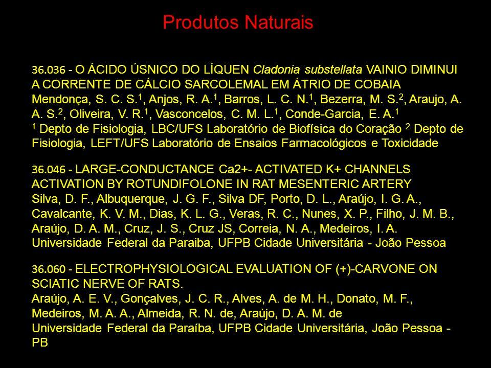 36.036 - O ÁCIDO ÚSNICO DO LÍQUEN Cladonia substellata VAINIO DIMINUI A CORRENTE DE CÁLCIO SARCOLEMAL EM ÁTRIO DE COBAIA Mendonça, S. C. S. 1, Anjos,