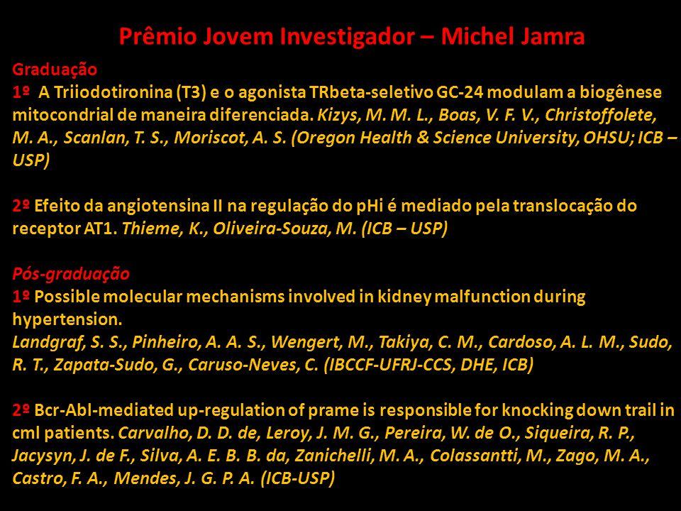 Prêmio Jovem Investigador – Michel Jamra Graduação 1º A Triiodotironina (T3) e o agonista TRbeta-seletivo GC-24 modulam a biogênese mitocondrial de ma