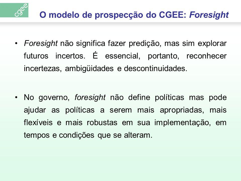 O modelo de prospecção do CGEE: Foresight Foresight não significa fazer predição, mas sim explorar futuros incertos. É essencial, portanto, reconhecer