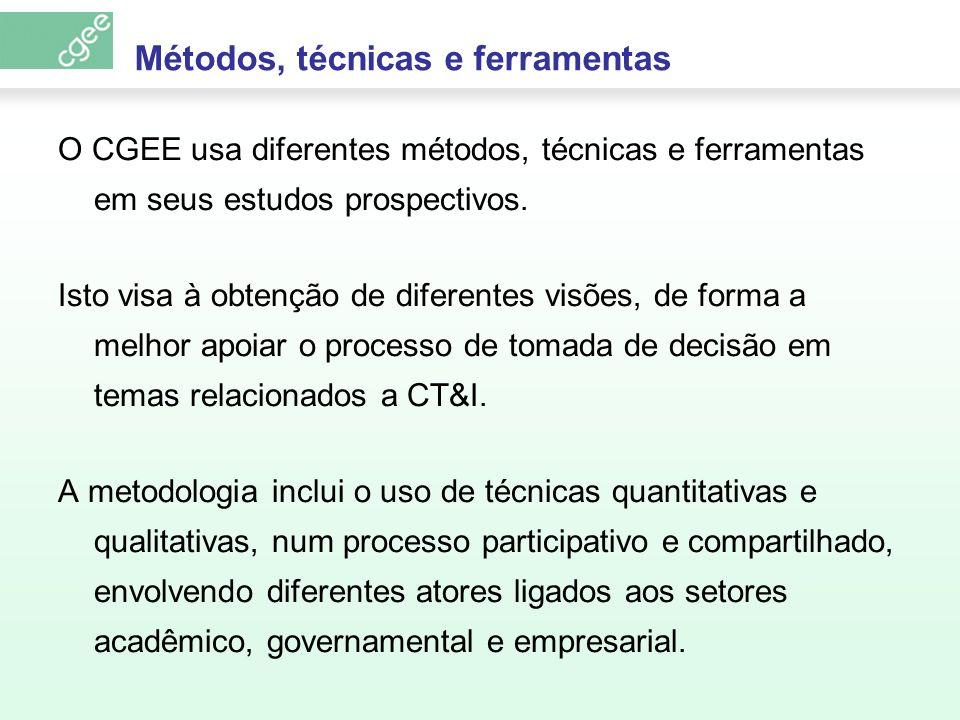 Métodos, técnicas e ferramentas O CGEE usa diferentes métodos, técnicas e ferramentas em seus estudos prospectivos. Isto visa à obtenção de diferentes