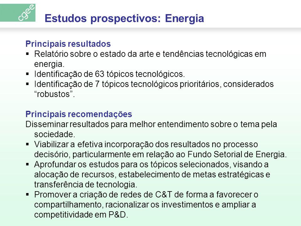 Principais resultados Relatório sobre o estado da arte e tendências tecnológicas em energia. Identificação de 63 tópicos tecnológicos. Identificação d