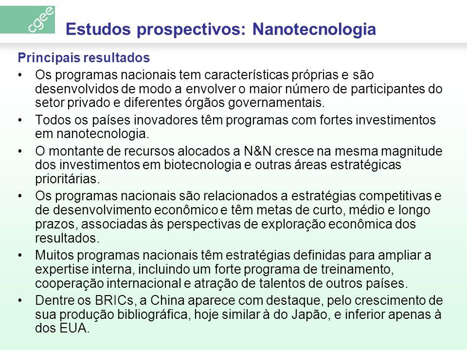 Estudos prospectivos: Nanotecnologia Principais resultados Os programas nacionais tem características próprias e são desenvolvidos de modo a envolver