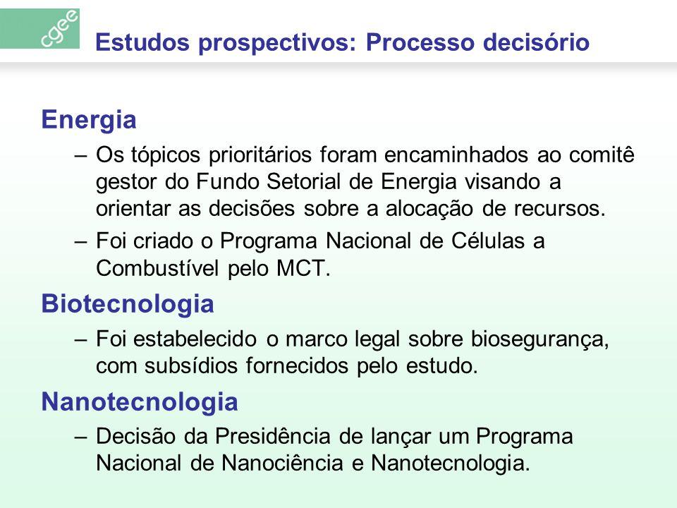 Estudos prospectivos: Processo decisório Energia –Os tópicos prioritários foram encaminhados ao comitê gestor do Fundo Setorial de Energia visando a o