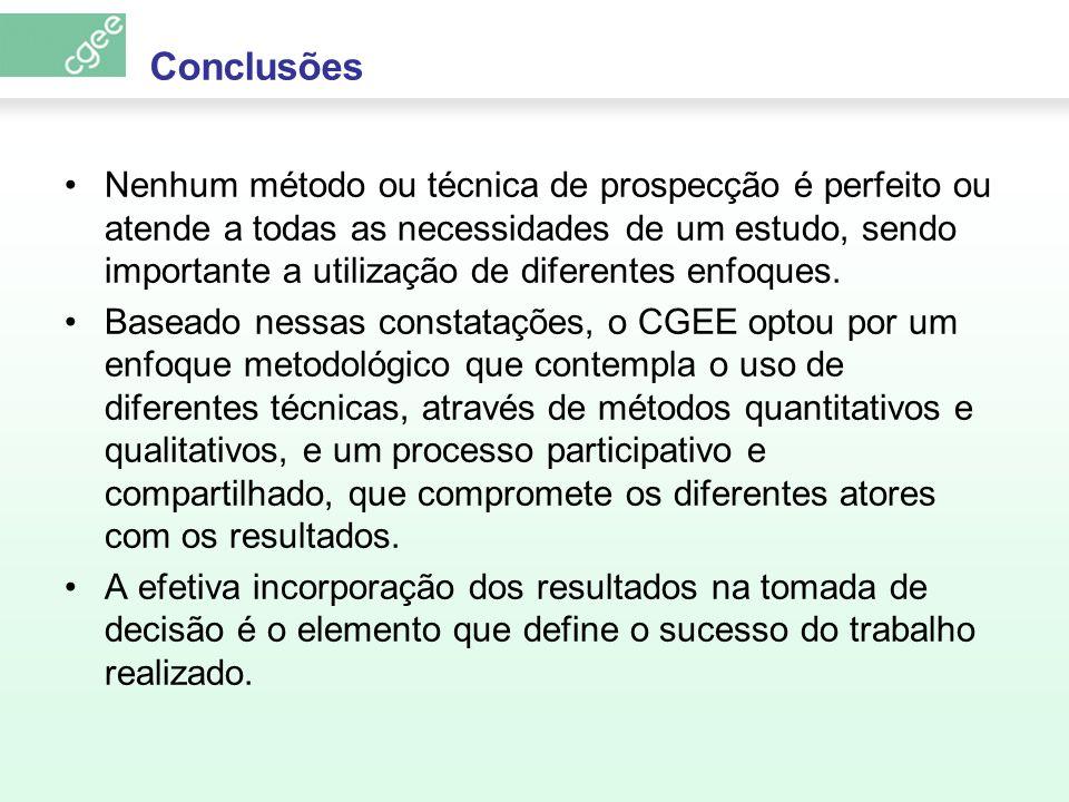 Conclusões Nenhum método ou técnica de prospecção é perfeito ou atende a todas as necessidades de um estudo, sendo importante a utilização de diferent