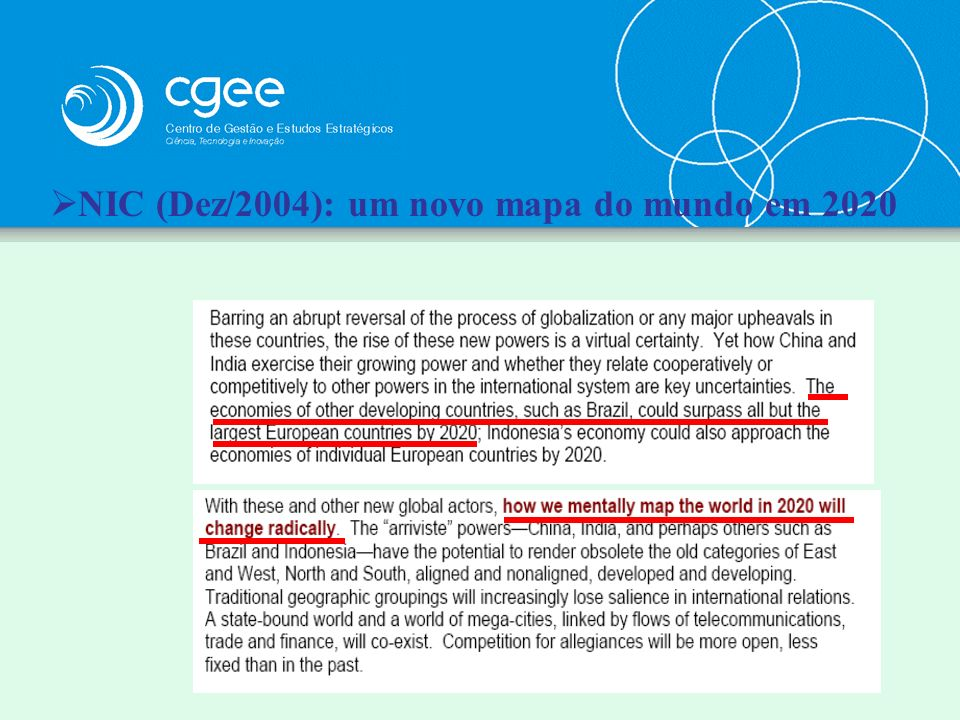 NIC (Dez/2004): um novo mapa do mundo em 2020