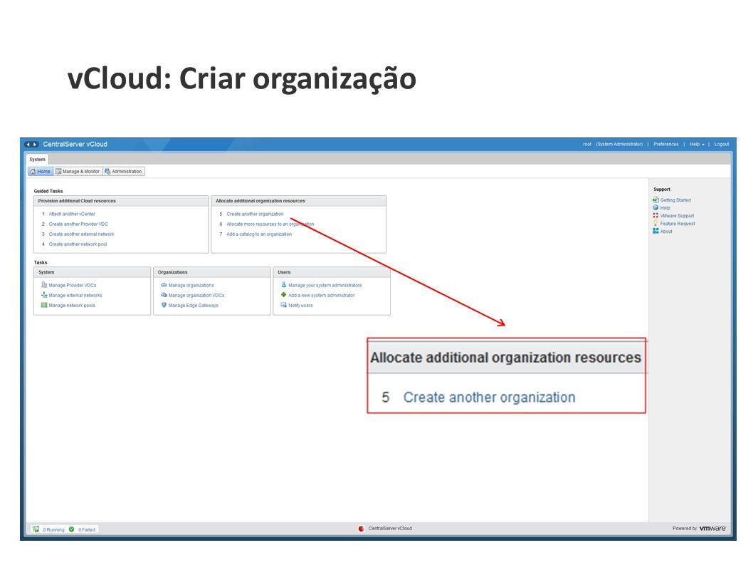 vCloud: Criar organização