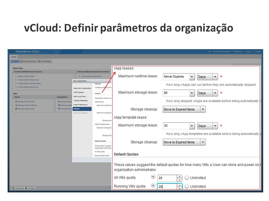 vCloud: Definir parâmetros da organização