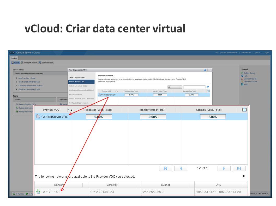 vCloud: Criar data center virtual