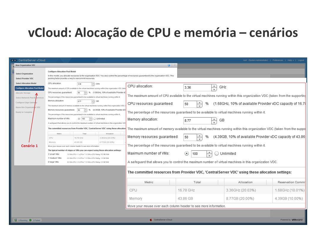 vCloud: Alocação de CPU e memória – cenários