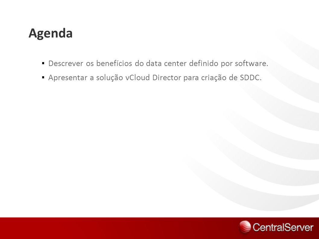 Agenda Descrever os benefícios do data center definido por software. Apresentar a solução vCloud Director para criação de SDDC.